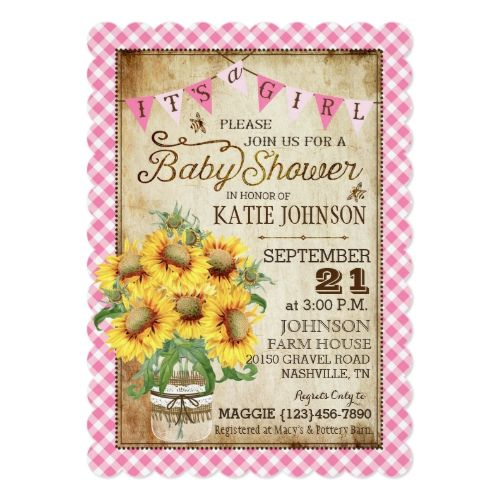 Country Sunflowers And Gingham Check Baby Shower Invitation Baby