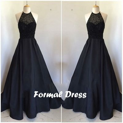 Black Satin Long Prom Dresses,Formal Dresses #coniefox #2016prom