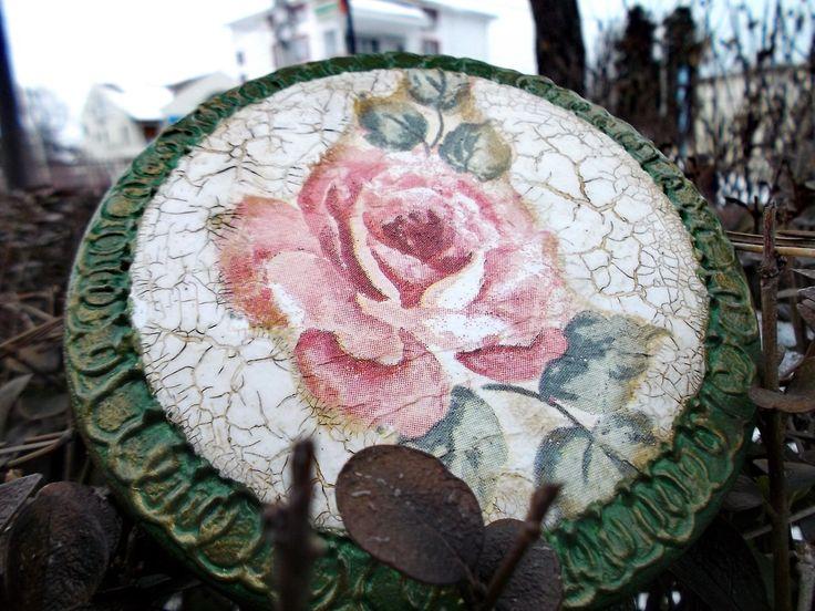 Refurbished old box - Single rose Handmade, decoupage, british, wood