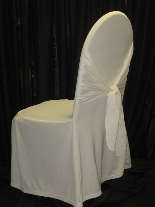 Ivory Chair Covers. Ivory Chair Covers with Tie.