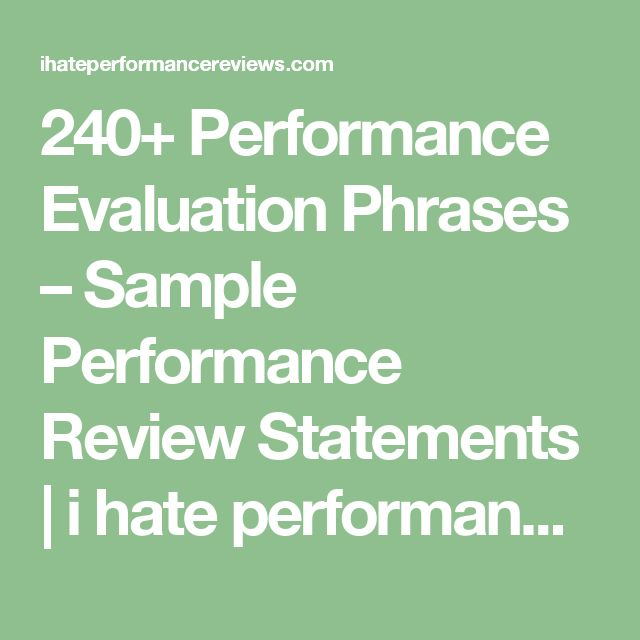 240  performance evaluation phrases  u2013 sample performance