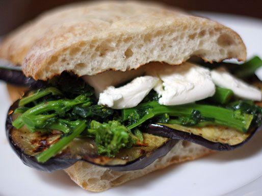 eggplant broccoli rabe and mozzarella sandwich eggplant sandwich ...