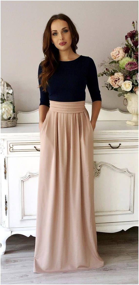 Navy Blue/Cappuccino- Brownish Maxi Dress 3/4 Sleeves Round Neckline Pockets Sash