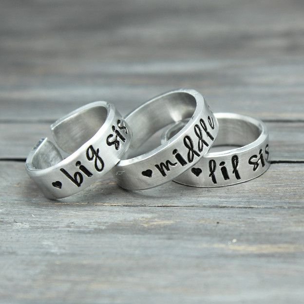 These stamped sister rings make the perfect gift for big sisters, middle sisters, little sisters, or even your daughters for a special gift. The price includes all three rings. Features & Measurements