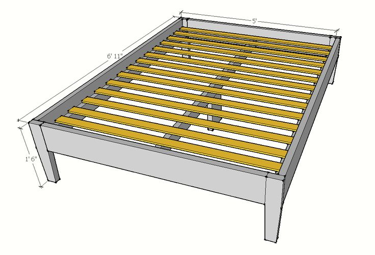 Ana-White.com Mid-Century Inspired Bed Plans Free