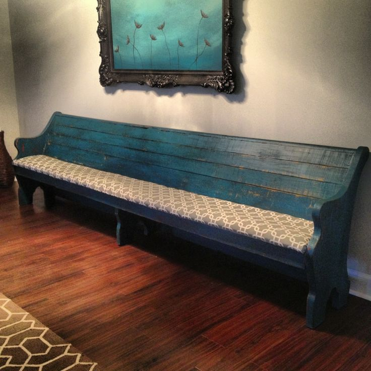 I had been wanting to have one of these for so long! It takes a really long wall;). Painted this one dark turquoise, distressed and antiqued. I also upholstered in a grey & white fabric. I love...