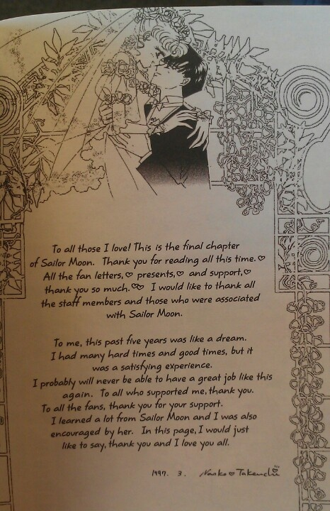 """Sailor Moon StarS"" - Naoko Takeuchi's thank you and goodbye message."
