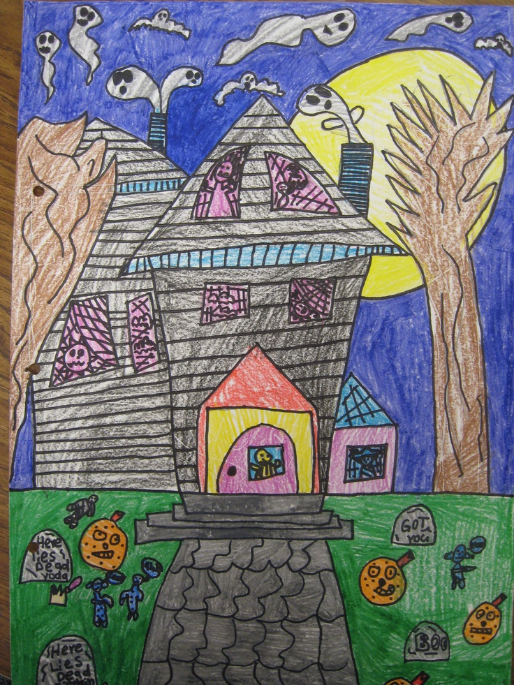 how to draw a realistic haunted house