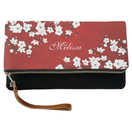Red Black And White Cherry Blossoms Monogram Clutch - floral style flower flowers stylish diy personalize