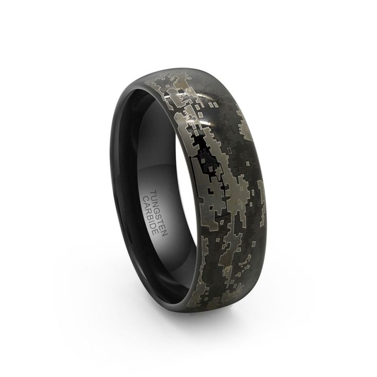 8mm Tungsten Carbide Black Hunting Camouflage Wedding Band Camo Engagement Ring