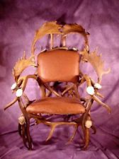REAL ANTLER ELK & FALLOW DEER CHAIR, FURNITURE, CHANDELIER, RUSTIC LIGHTS, STOOL