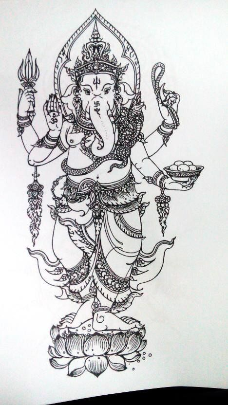 lord ganesh sak yant design | Ganesha tattoo, Elephant ...