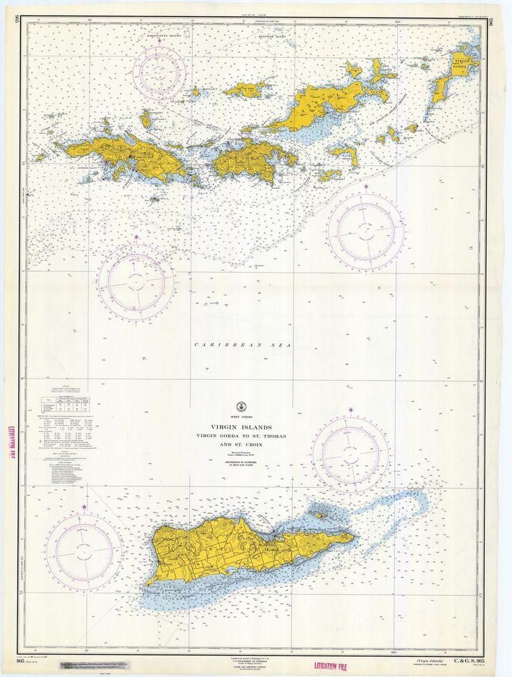 Virgin Islands Map - USVI & BVI Historical Chart 1962