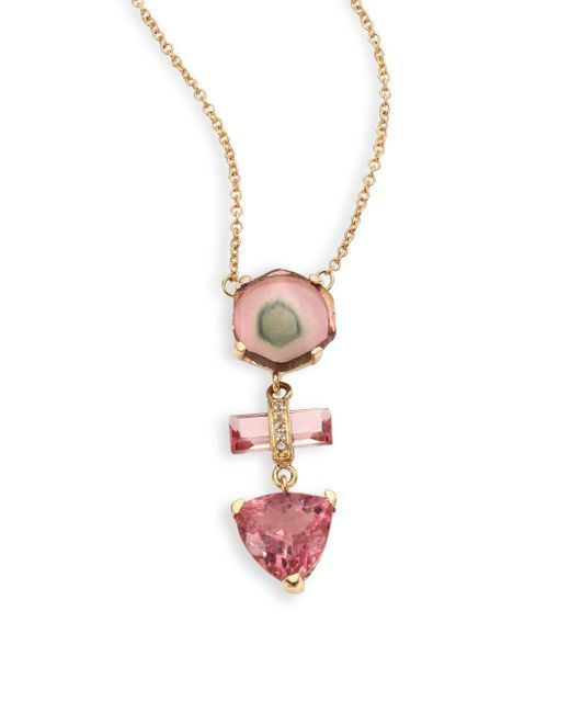 Jacquie Aiche   Multicolor 14k Yellow Gold Pink Tourmaline Necklace   Lyst
