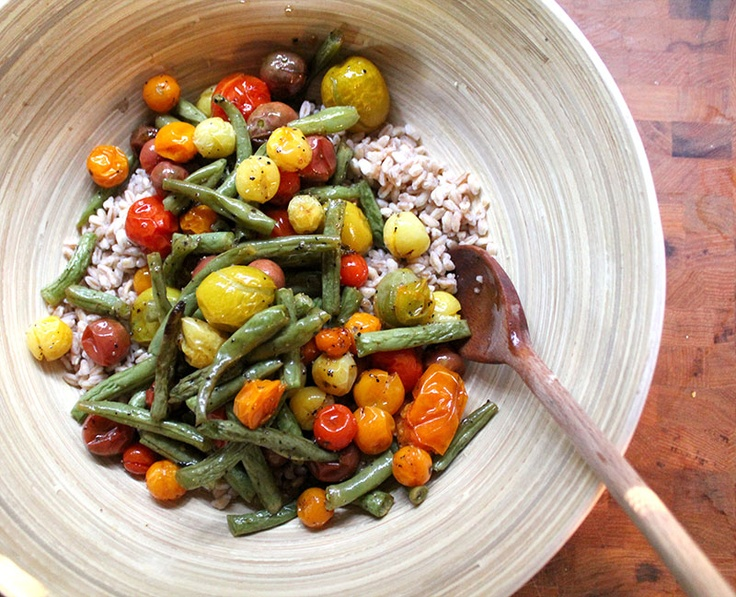 Farro (or wheat berry) Salad with Roasted Vegetables and Caramelized ...