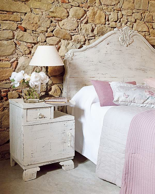 home decor: Decor, Ideas, Bedside Table, Shabby Chic, Dream, Bedroom Design, Stone Walls, Bedrooms, Stones