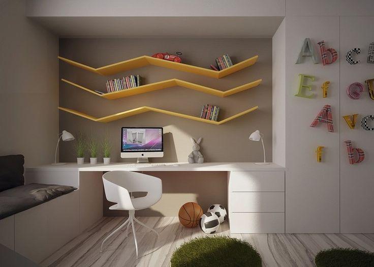 Серо-коричневая краска для стен и белая мебель - желтые настенные полки, как украшение