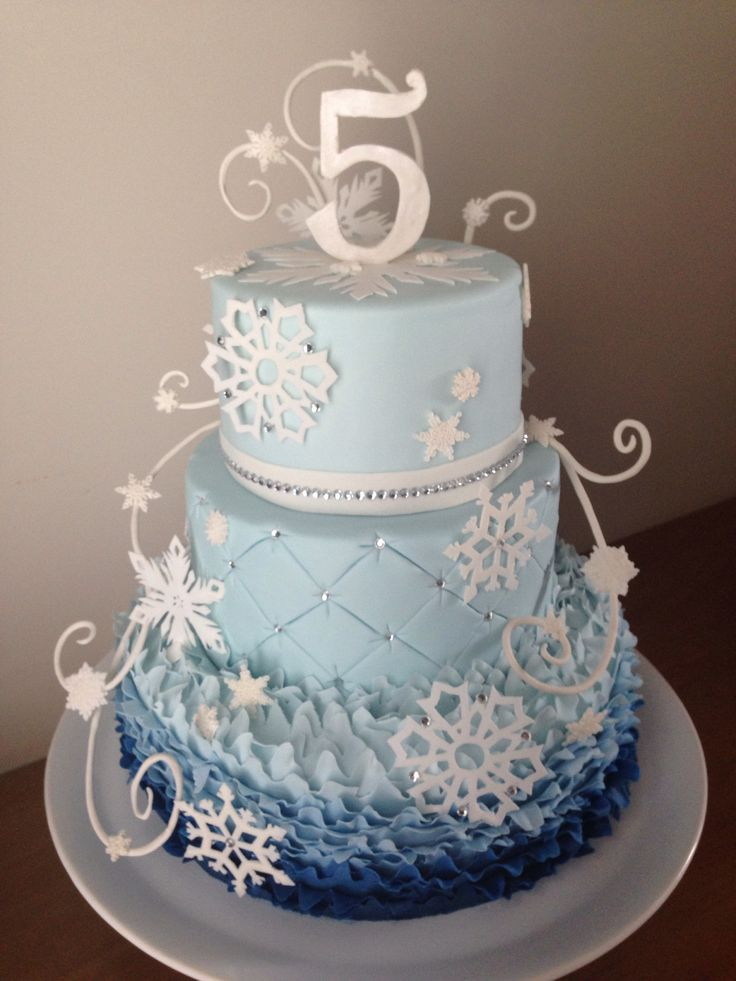 Frozen inspired Cake! Elsa's snowflakes were cut by hand ...