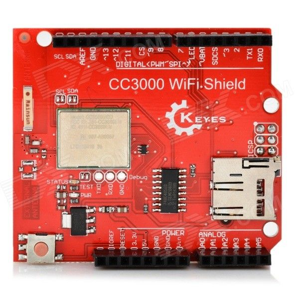 KEYES CC3000 MEGA2560 Wi-Fi Shield Board w/ Micro SD Card Slot for Arduino R3 - Red. CC3000 is a wireless network processor that can simplify the executing processes of the Internet connection. It can reduce the MCU software requirement for host and make it become an ideal solution that can use any lowcost and low power consumption MCU embedded application.. Tags: #Electrical #Tools #Arduino #SCM #Supplies #Boards #Shields