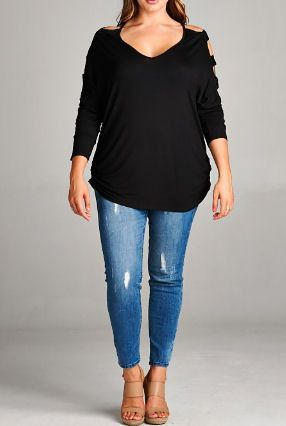"""Black stretchy v-neck top with a cut-out sleeve and ruched sides. 95% Rayon, 5% Spandex Approximate measurements: XL: Sold Out 2XL: 52"""" Chest 3XL: 54"""" Chest"""