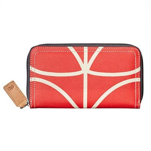 Orla Kiely Zip Wallet Giant Linear Stem Vermillion Red
