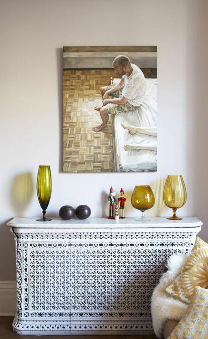 Heizkörperverkleidung Wohnzimmer Gitter Weiß Florale Muster Leinwand  Wanddekoration Buntes Glas Gläser