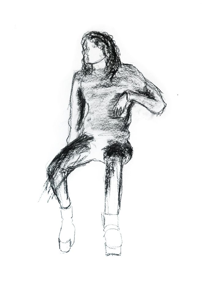 Elvis Lopes. Carvão s/ papel, 59,4 x 42 cm