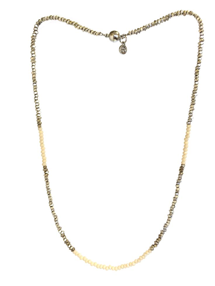 One Button necklace - med length silver nuggets & glass beads with magnetic clasp #milk #white #creamwhites #bracelet #accessories #onebutton Click to buy from the One Button shop.