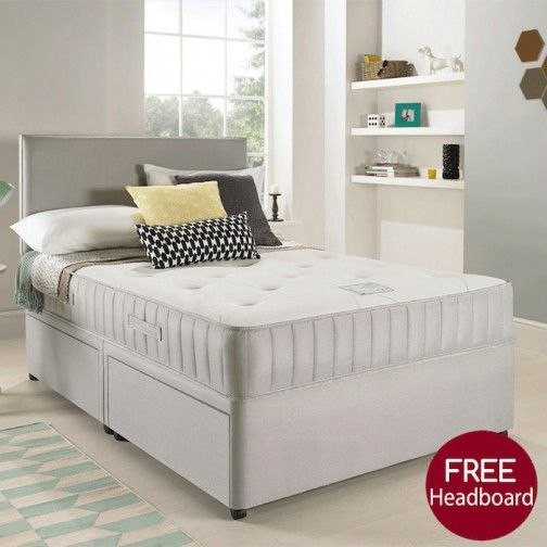Egerton Divan Bed with Spring Memory Foam Mattress and Suede Headboard #CheapMemoryFoam