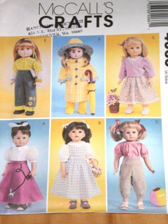 McCalls 4066 Doll Clothes Pattern For 18 Inch Such As American Girl