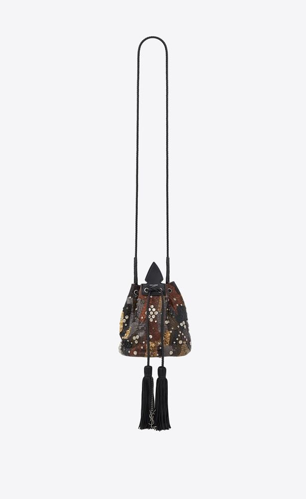 661f4c2b99a0 SAINT LAURENT Bucket Bag Woman Small ANJA bucket bag in a patchwork of  brown and black python leather a V4