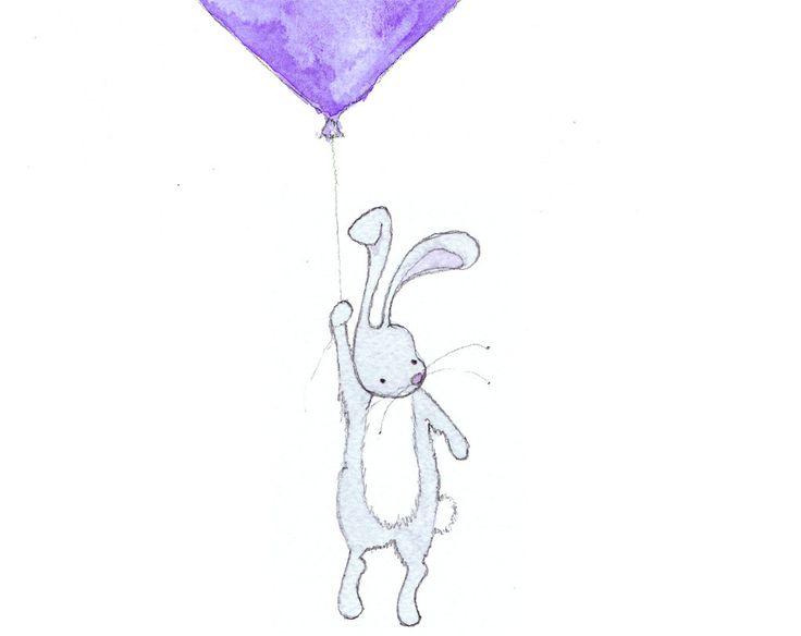 Nursery Wall Art, Rabbit Balloon Print, Nursery Art, Kid's Room, Blue, Animal Art Print, Nursery Decor, New Baby Boy, Nursery Illustration by OneLittleBundle on Etsy