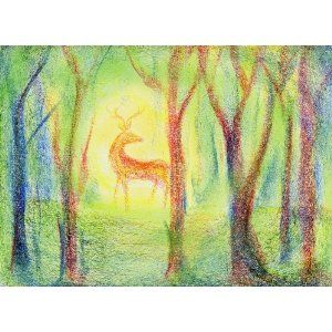 Waldorf ~ 4th grade ~ Human & Animal ~ Deer ~ crayon drawing