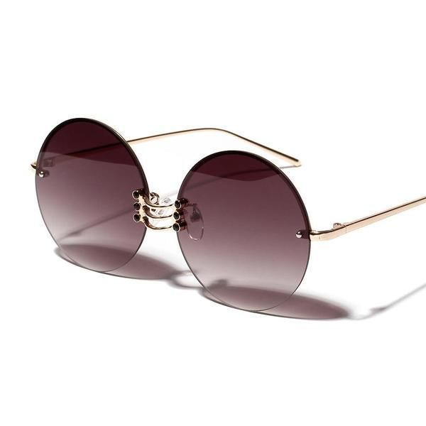 Peekaboo Metall Runde Sonnenbrille Frauen Retro Vintage Sommer rahmenlose Sonnen…
