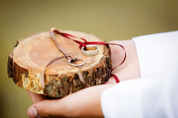 Wood Slice Weddings- Wood Slice Ring Holder. Found on Weddingbee.com Share your inspiration today!