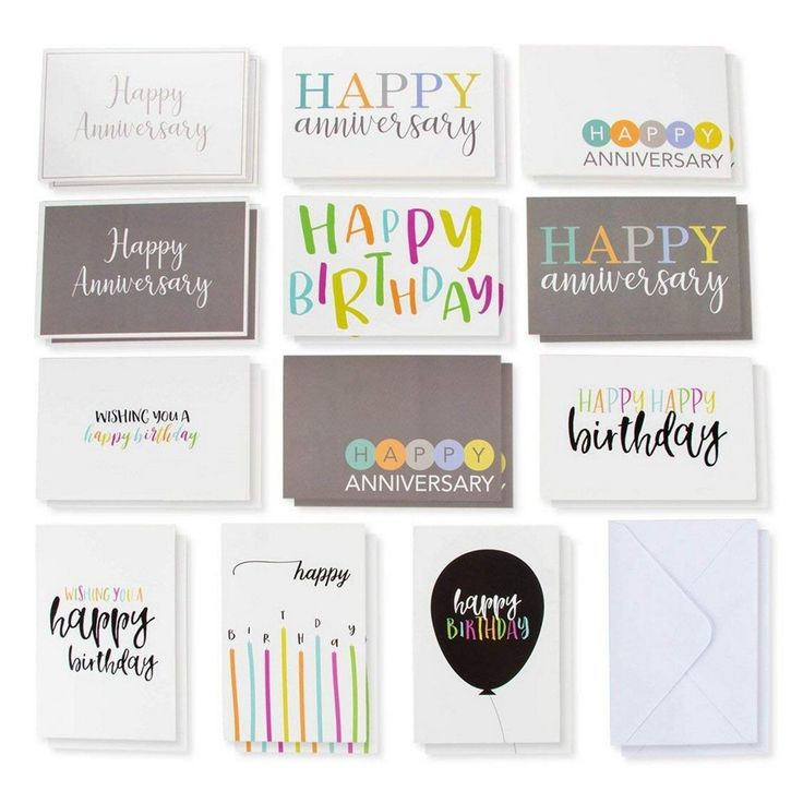 120 colorful happy anniversary and birthday cards bulk box