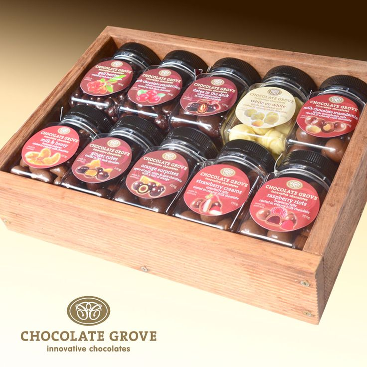 The full range on of chocolate coated product on display in a special gift box.