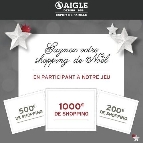J'ai joué au grand jeu Aigle pour tenter de gagner mon shopping de Noël. Vous aussi, jouez pour gagner jusqu'à 1000€ de shopping !