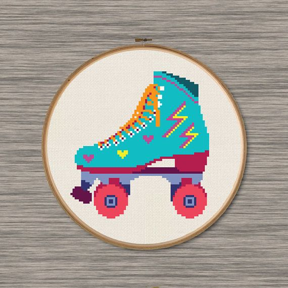 Retro Roller Skate PDF Cross Stitch Pattern