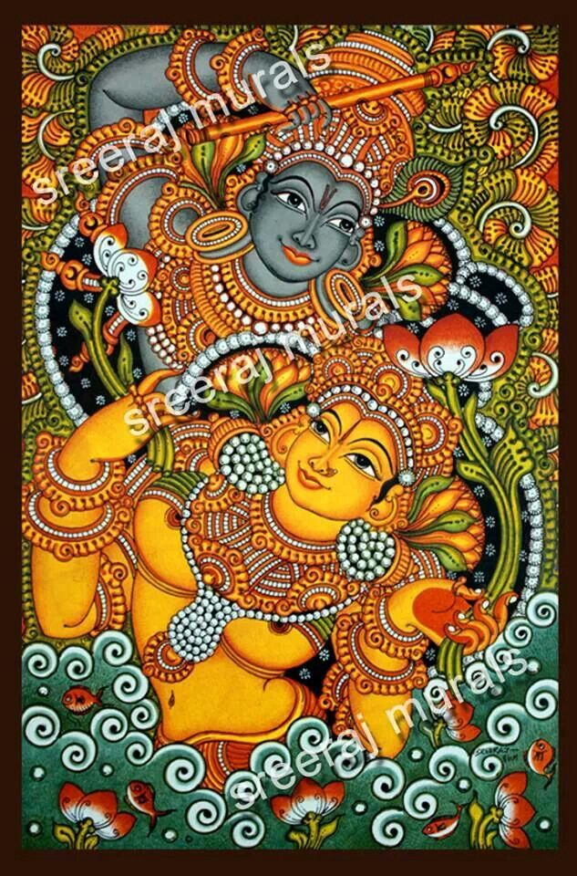 Radhekrishn..kerela..wall mural..temple art..