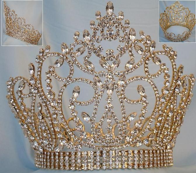Miss American Beauty Full Gold Rhinestone Pageant Crown