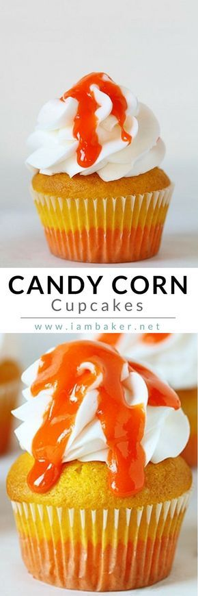 """Easy Halloween Cupcake Recipe for Kids: """"What's for dessert? Cupcakes. Glorious dual-toned, frosting piled high, covered in an obscene sweet glaze decadent Candy Corn cupcakes."""" Pin this to your Halloween Recipes board. @iambaker #iambakerdessert #iambaker"""