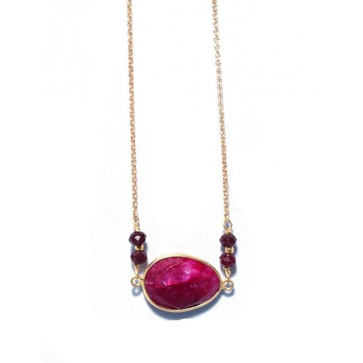 Necklace Gold Plated 925 Silver With Red Semi Precious Stone #necklace #jewelry #lovejewelry #silver