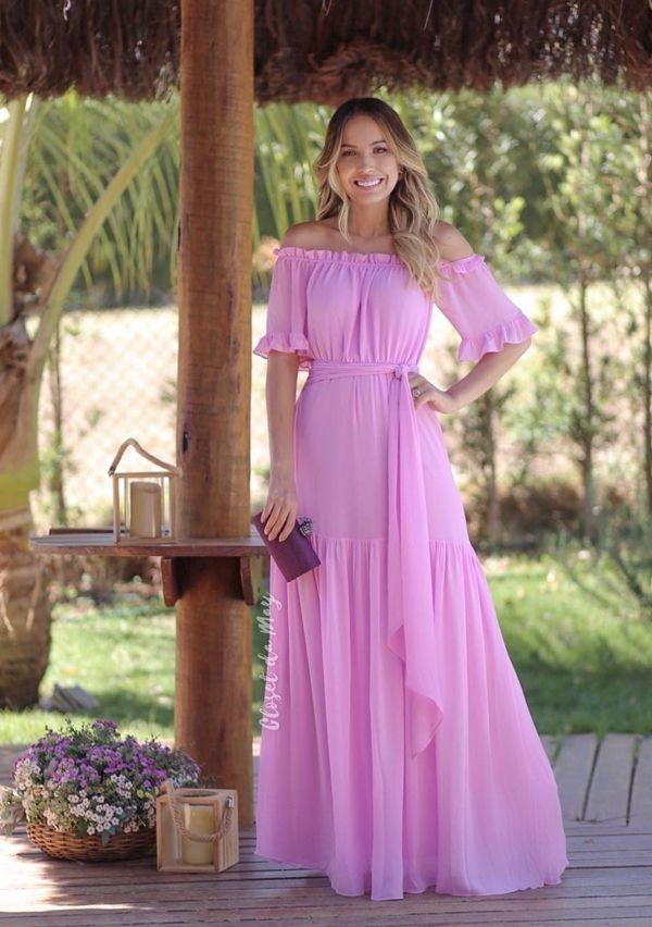 Vestido Longo Rosa Claro Em 2019 Vestidos Gestantes Roupa
