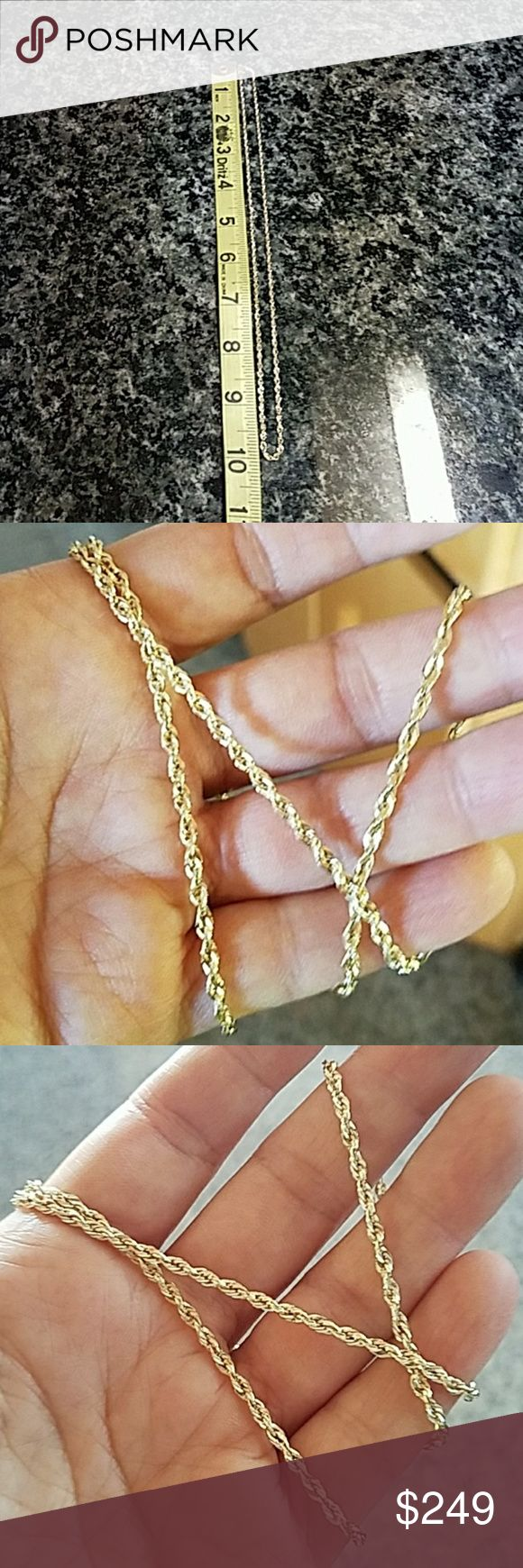 "14k Yellow Gold Rope Chain 20"" 2.5mm New. 14k Yellow Gold .2.5mm 20"" inches Rope hollow chain  Approximately 3 Grams  Item#CH0149-2.56-81 Jewelry Necklaces"