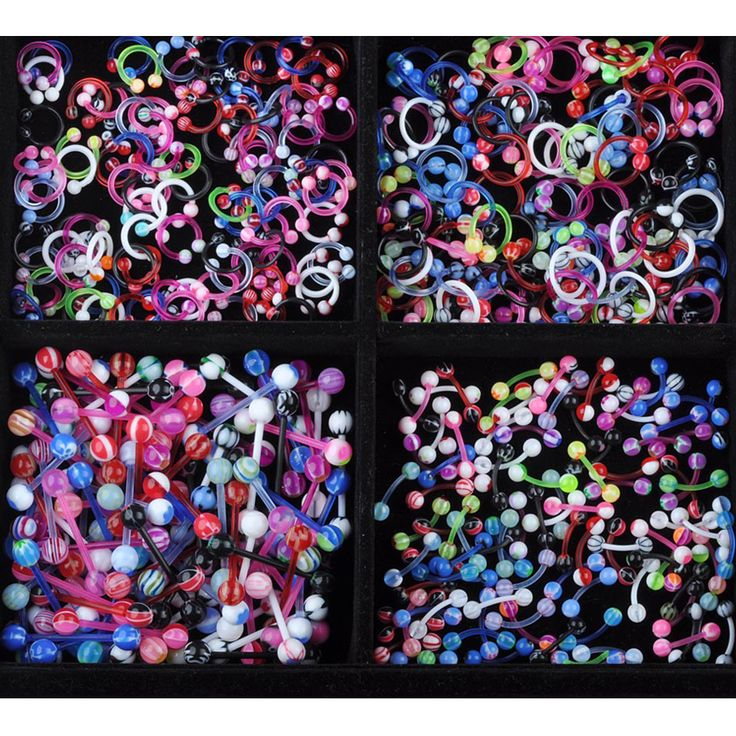 5pcs Sexy Jewelry Colorful Assorted Ball Tongue Nipple Bar Ring Barbell Belly Piercing Tongue Body Jewelry 11 Styles