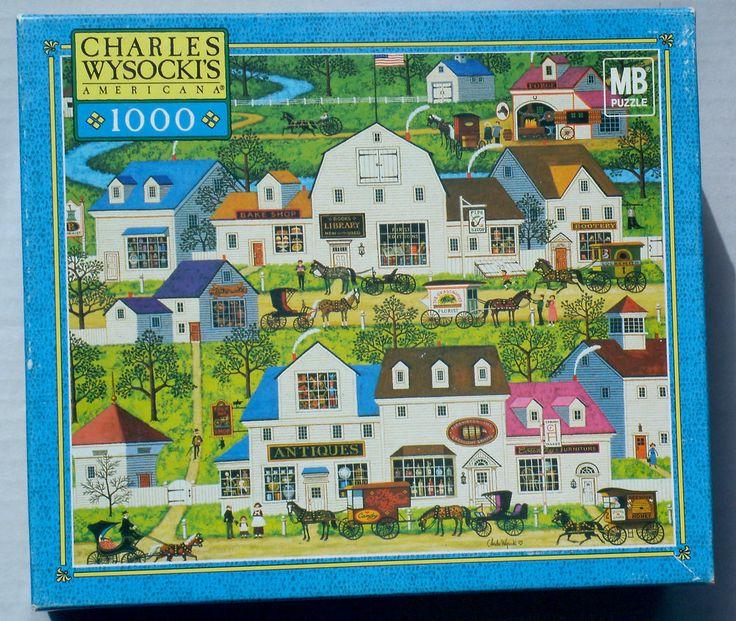 WYSOCKI AMERICANA 1000 pc Jigsaw Puzzle: SHOPS & BUGGIES ** COMPLETE ** #MiltonBradleyHasbro