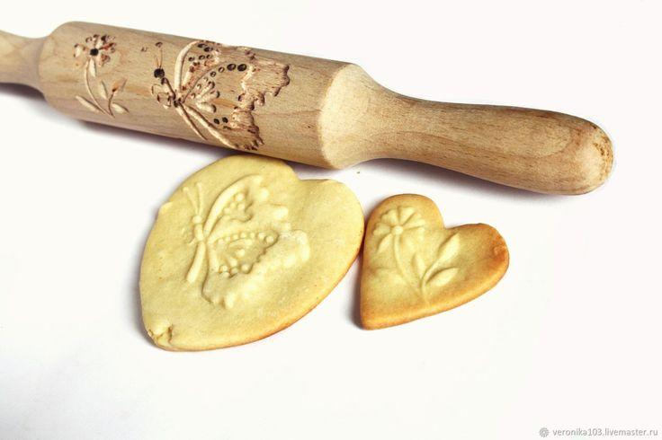 Купить Скалка для печенья скалка для пряников Бабочка и цветок в интернет магазине на Ярмарке Мастеров