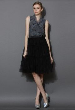 Bowknot Sleeveless Organza Top in Smoke - Retro, Indie and Unique Fashion