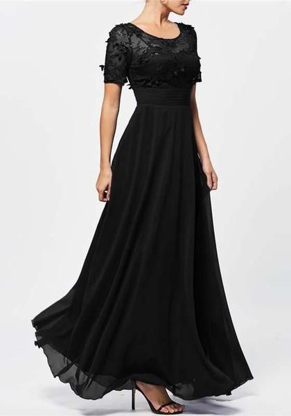 39cc9fd4b15 Black Cut Out Lace Draped Flowy Bridesmaid Elegant Banquet Party Maxi Dress
